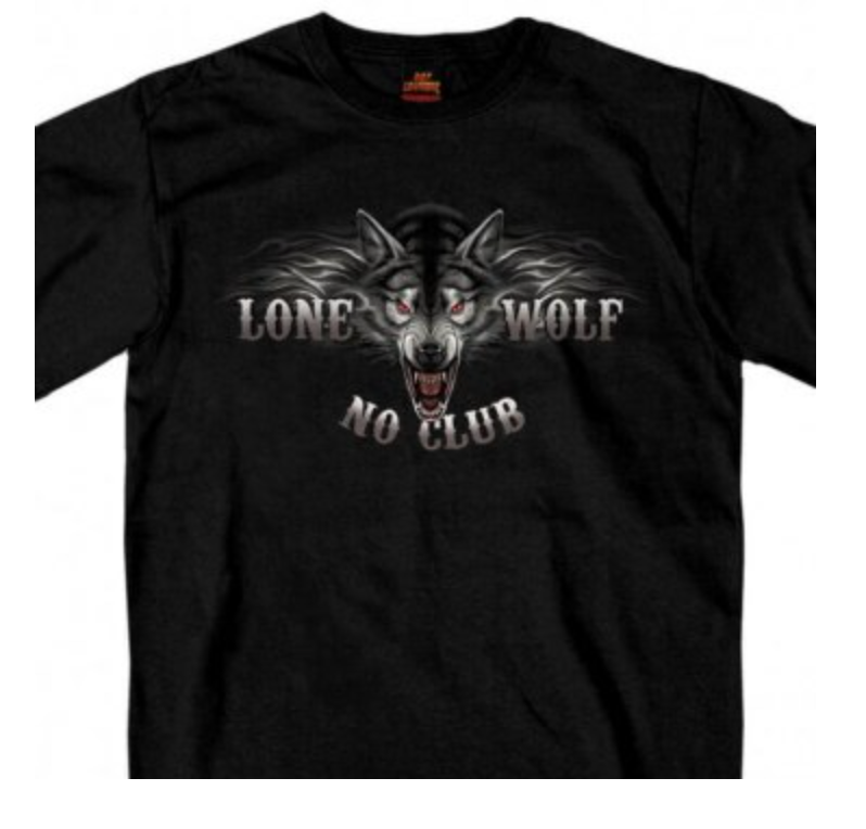 Lone Wolf No Club double sided  Print T Shirt
