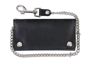 "7"" Tri Fold Naked Leather Wallet Heavy Duty Chain & ""Lobster"" Clip"