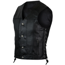 Straight Bottom Single Back Piece Leather Waistcoat