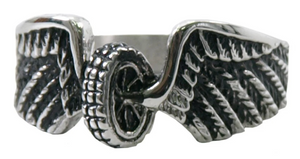 Biker Ladies Wings & Wheel Ring