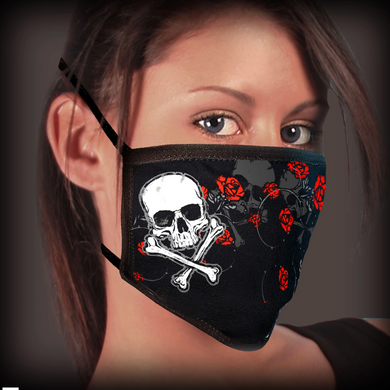 Hot Leathers Skull Roses Pandemic Face Mask