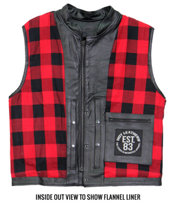 Red Flannel Lined Club Style Leather Waistcoat / Cut by Hot Leathers