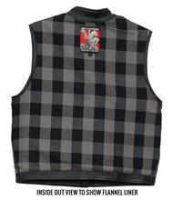 Grey Flannel Lined Club Style Leather Waistcoat / Cut by Hot Leathers