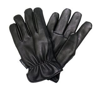 Soft Deerskin Black Leather Cruiser Gloves with Red Check Flannel Lining