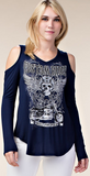 Ladies Custom Rider Sportster Long Sleeve Top Navy