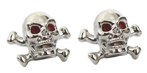 Skull & Cross Bones Valve Caps, Motorcycle Accessories - Fat Skeleton UK
