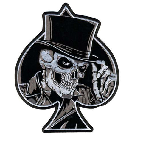 Spade & Top Hat Skull Patch, Accessories - Fat Skeleton UK