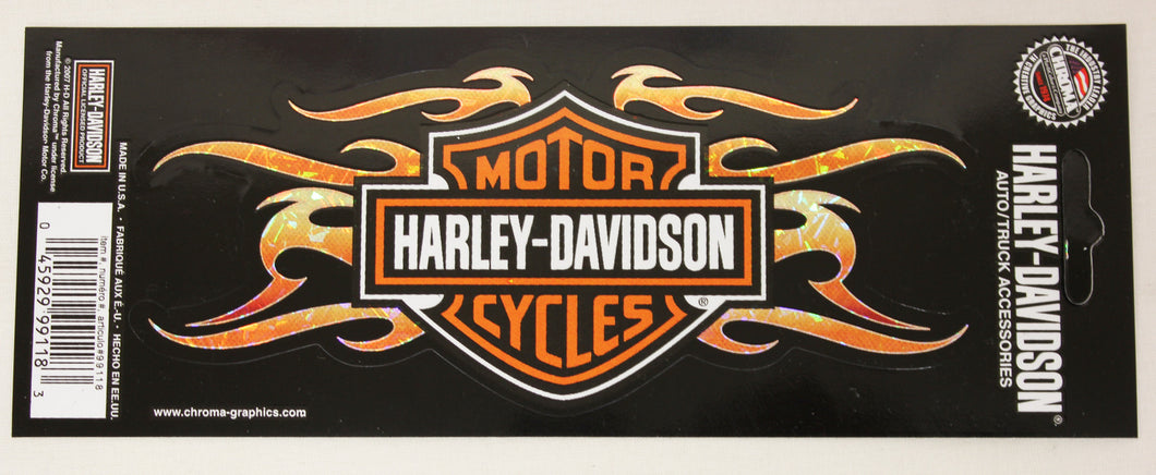 Genuine Harley Davidson Flaming Bar & Shield logo sticker, Accessories - Fat Skeleton UK