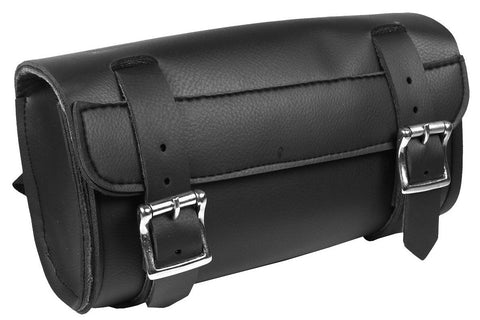 Quality Motorcycle Studded Plain Roll Bag Quick Release Buckles, Cruiser Luggage - Fat Skeleton UK
