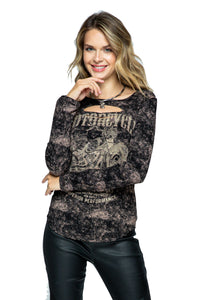 Ride Like The Wind Long Sleeve Laser Cut Neck by Vocal of California, Womens Clothing - Fat Skeleton UK