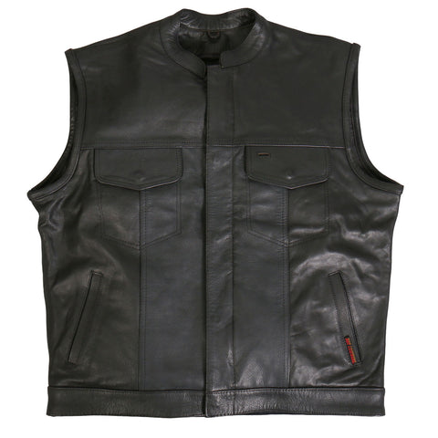 Club Style Leather Waistcoat / Cut 3XL-4XL, Leather Clothing - Fat Skeleton UK