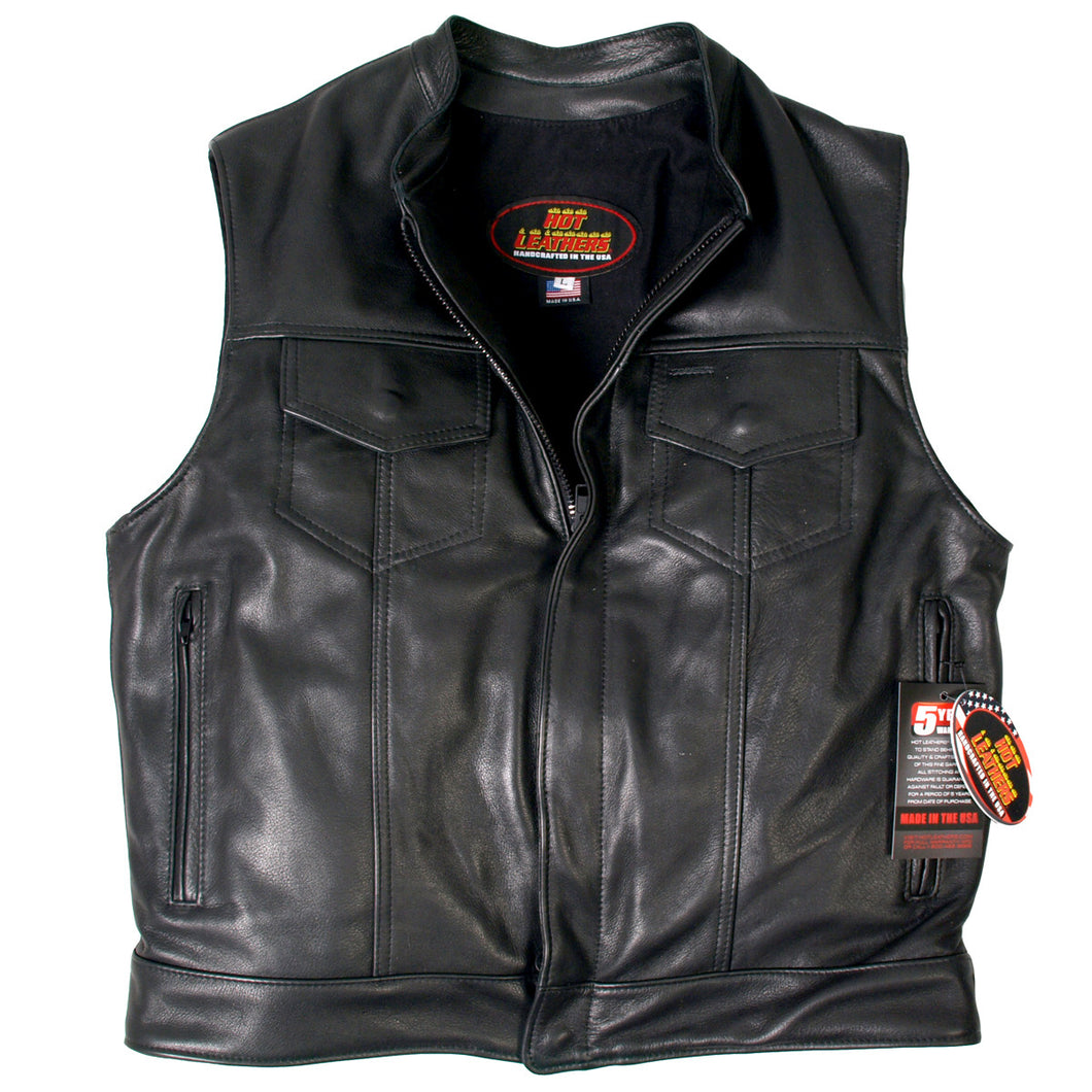 American Made Outlaw Style Leather Waistcoat / Cut, Leather Clothing - Fat Skeleton UK