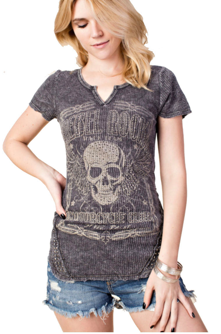 Ladies Rebel Rock Skull Thermal T Shirt by Vocal of California, Womens Clothing - Fat Skeleton UK