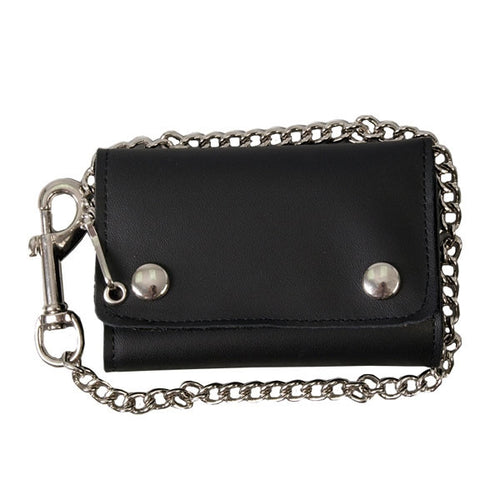 Large Tri Fold Leather Wallet Heavy Duty Chain &