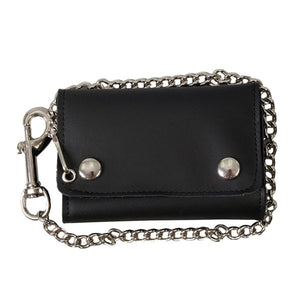 "Large Tri Fold Leather Wallet Heavy Duty Chain & ""Lobster"" Clip, Accessories - Fat Skeleton UK"