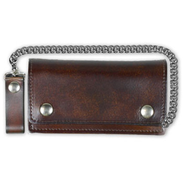 Large Antiqued Brown Leather Bi Fold Wallet Chain & Clip, Lifestyle Accessories - Fat Skeleton UK