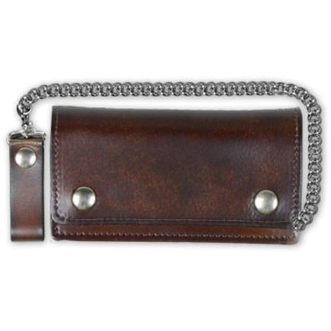 Large Antiqued Brown Leather Bi Fold Wallet Chain & Clip, Accessories - Fat Skeleton UK
