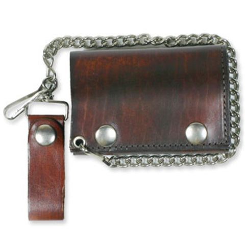Antiqued Effect Brown Leather Tri-Fold Chain Wallet, Accessories - Fat Skeleton UK