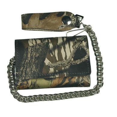 Woodland Camo finish Tri-Fold Chain Wallet, Lifestyle Accessories - Fat Skeleton UK