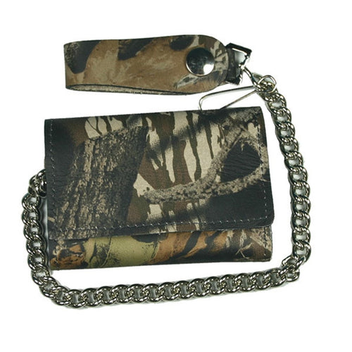 Woodland Camo finish Tri-Fold Chain Wallet