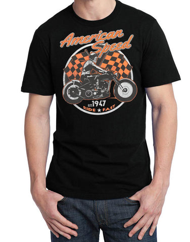 American Speed Skeleton Riding Bobber T Shirt, Mens Clothing - Fat Skeleton UK