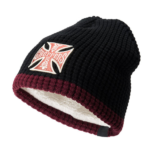 West Coast Choppers Jesse James Knitted Cross Black Beanie, Clothing Accessories - Fat Skeleton UK