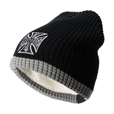 West Coast Choppers Jesse James Knitted Cross Grey /  Black Beanie, Clothing Accessories - Fat Skeleton UK