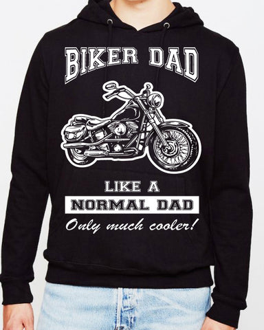 Biker Dad Hooded Sweatshirt, Mens Clothing - Fat Skeleton UK