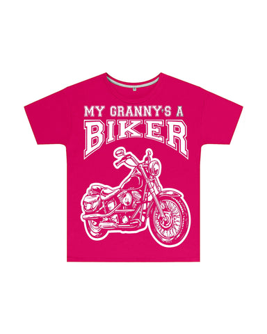My Granny's a Biker Kids T Shirt in Dark Pink