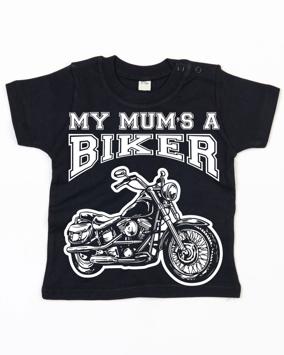 My Mum's a Biker Baby T Shirt in Black