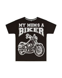 My Mum's a Biker Kids T Shirt in Black, Baby & Kids - Fat Skeleton UK