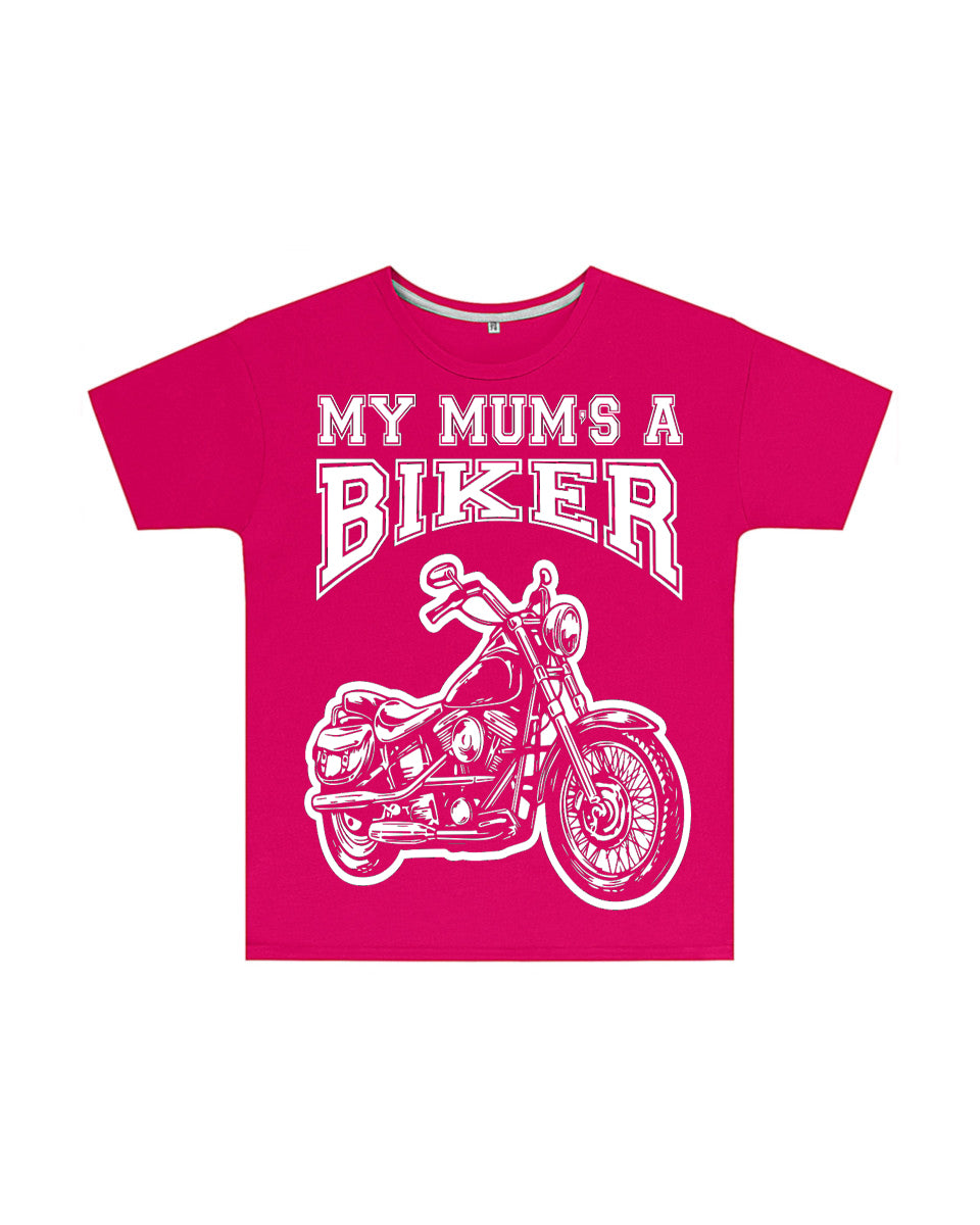 My Mum's a Biker Kids T Shirt in Dark Pink, Baby & Kids - Fat Skeleton UK