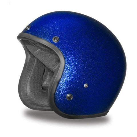 Blue Metalflake - Daytona Low Profile D.O.T. Open Face Helmet, Open Face Helmets - Fat Skeleton UK