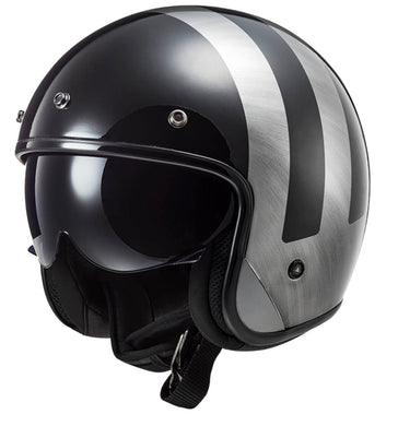 LS2 BOB Low Profile Lines Jeans ECE approved Open Face Helmet with drop down visor