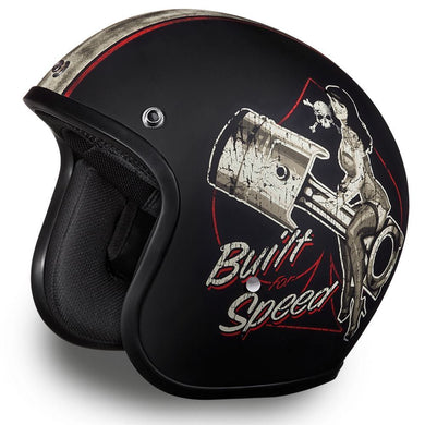 Matt Black 'Built for Speed' - Daytona Low Profile D.O.T. Open Face Helmet, Open Face Helmets - Fat Skeleton UK