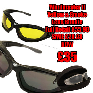 Fat Skeleton Windmaster II Bundle Yellow & Dark Lens EVA Foam Padded Sunglasses
