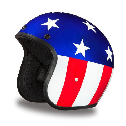 Captain America - Daytona Low Profile D.O.T. Open Face Helmet, Open Face Helmets - Fat Skeleton UK
