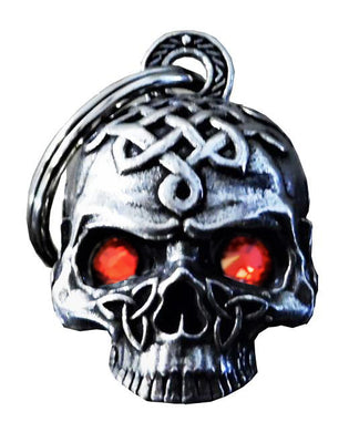 3D Celtic Skull Bell with Red Eyes Guardian Gremlin, Lifestyle Accessories - Fat Skeleton UK