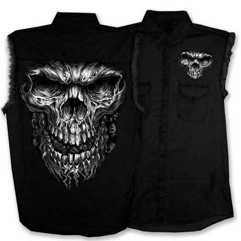 HOT LEATHERS MEGA CUT OFF SLEEVE DENIM SHIRT, Mens Clothing - Fat Skeleton UK