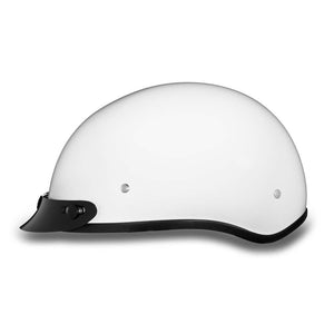 Daytona Helmets Gloss White Skull Cap DOT Helmet & Peak, Open Face Helmets - Fat Skeleton UK