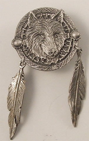 Dream Catcher Wolf Pin Badge, Accessories - Fat Skeleton UK