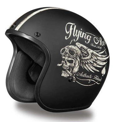 Matt Black 'Flying Skulls' - Daytona Low Profile D.O.T. Open Face Helmet, Open Face Helmets - Fat Skeleton UK