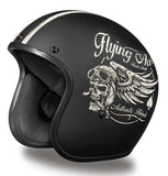 Daytona Low Profile Open Face Matt Black Helmet Flying Skulls D.O.T., Open Face Helmets - Fat Skeleton UK