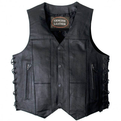 10 Pocket Leather Waistcoat, Leather Clothing - Fat Skeleton UK
