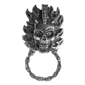 Flaming Skull Pewter Badge & Sunglasses Holder, Lifestyle Accessories - Fat Skeleton UK