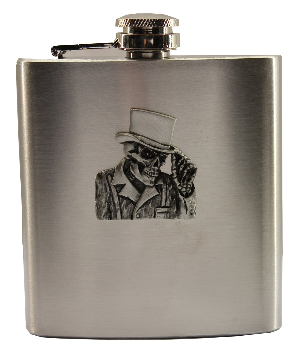 Fat Skeleton Top Hat Skull Hip Flask, Accessories - Fat Skeleton UK