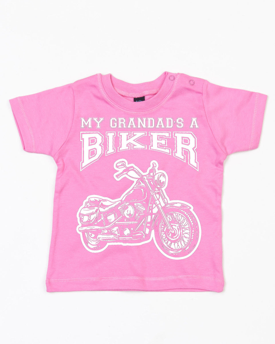 My Grandad's a Biker Cool Baby T Shirt in Bubblegum Pink, Baby & Kids - Fat Skeleton UK