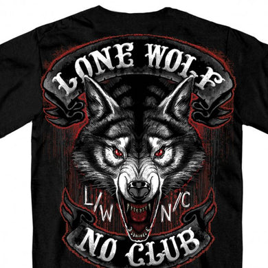 Lone Wolf No Club Mega Back Print T Shirt, Mens Clothing - Fat Skeleton UK