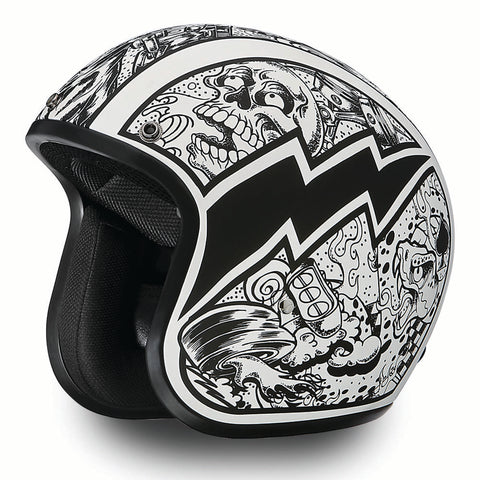 NEW Daytona Low Profile Open Face Skull Graffiti D.O.T. Open Face Helmet