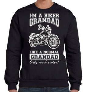 Biker Grandad Sweatshirt, Mens Clothing - Fat Skeleton UK